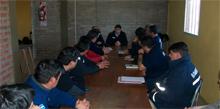 Autoridades de la Academia Nacional de Bomberos y la Escuela de Capacitación Neuquina se reunieron en Junín de los Andes.